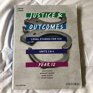 Justice and Outcomes Legal 3&4 Textbook