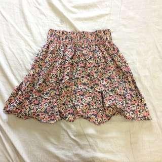 h&m floral highwaist skirt