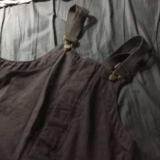 含運 Dickies 九成新 海軍甲板 吊帶褲 工作服 復古 工業 黑色 L 官網購入