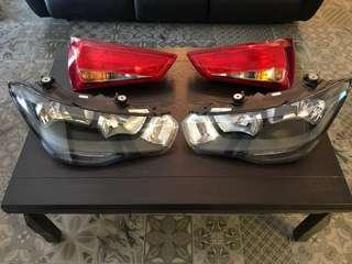 Complete set of A3 front headlamps and rear Taillights