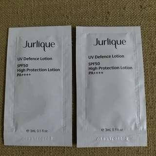 Jurlique UV Defence Lotion SPF50 草本輕柔防曬乳霜SPF50 3ml 試用裝 有2包, $5一包
