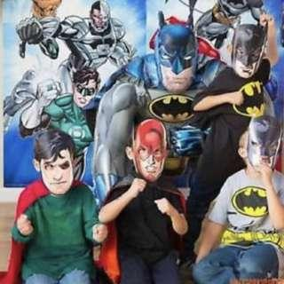 Justice League Party supplies - party masks / photo booth props / party deco