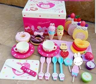Usamomo Rabbit Afternoon Tea Cake Ice Cream Candy Sweets Dessert Toy Set