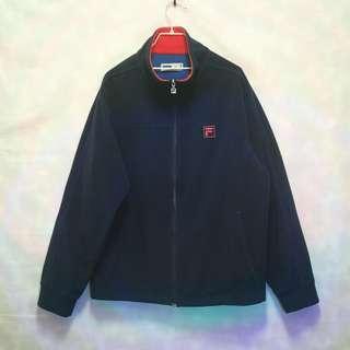 三件7折🎊 Fila 毛料外套 夾克 外套 深藍 電繡logo 極稀有 老品 復古 古著 vintage