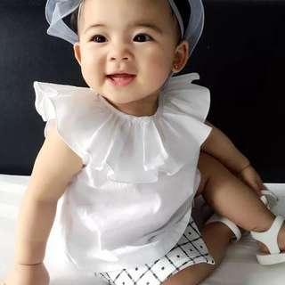 🚚 ✔️STOCK - RUFFLES COLLAR LAYER WHITE CASUAL COTTON BLOUSE TOP NEWBORN TODDLER BABY GIRLS KIDS CHILDREN CLOTHING