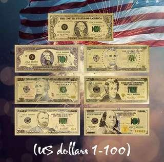 US Dollar $1 to $100 999 Fine Gold Foil Banknote