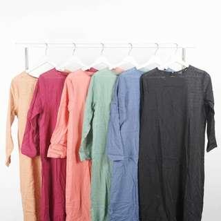 Baju Terusan Dress Rok Hitam Simple Crepe