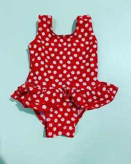 Preloved swimsuit red sz up to 3m