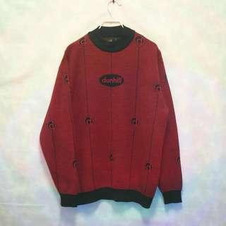 三件7折🎊 dunhill 毛衣 針織毛衣 大學T 紅 羊毛 大logo 極稀有 義大利製 老品 古著 復古 Vintage