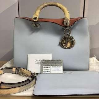 100% Authentic Diorissimo Medium Dual Colour Snake Skin Handle & Strap Dior Bag