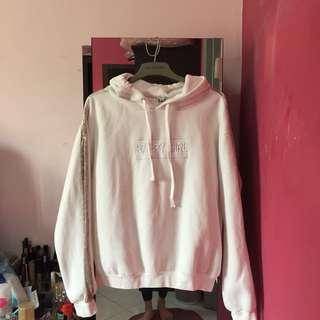 Korean White Sleeve Stripe Hoodie Sweatshirt