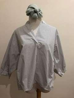 Stripe puffy sleeves shirt top (korean fashion)