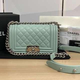 100% Authentic Chanel Boy Small Silver Hardware Aqua