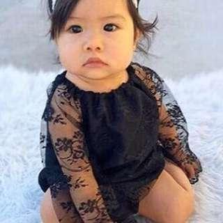 🚚 ✔️STOCK - GOTHIC BLACK LACE LONG SLEEVES OVERALL ROMPER ONESIE NEWBORN BABY TODDLER GIRLS KIDS CHILDREN CLOTHING
