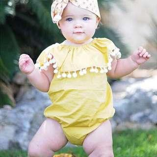 🚚 ✔️STOCK - POM POM FUR BALLS COLLAR YELLOW OVERALL ROMPER ONESIE NEWBORN BABY TODDLER GIRLS KIDS CHILDREN CLOTHING