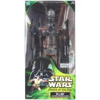 "POTJ vintage 13"" tall ig-88 ig88 mint in box. Power of the Jedi bounty hunter"