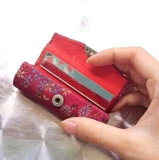 Embroidery Oriental Lipstick Case with Mirror.