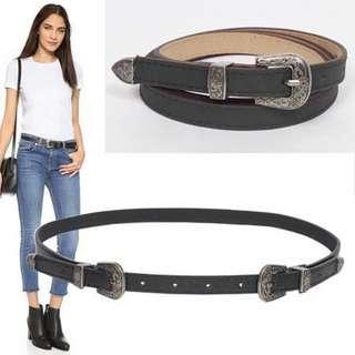 雙扣雕花皮帶 leather belt flower