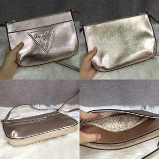 Clear Stock Rose Gold Guess Slingbag