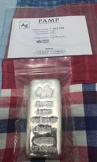 Left 1 only: PAMP Silver Bar Fine 999 swiss with certificate