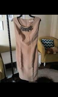 Nude dress with beads