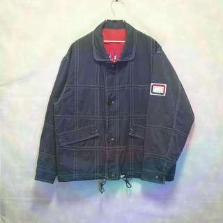三件7折🎊 ELLE 雙面穿外套 夾克 風衣 藍灰 磨毛布 紅 極稀有 日貨 老品 復古 古著 Vintage