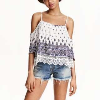 H&M Cold Shoulder Lace Top