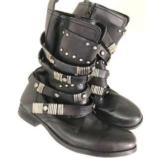 Leather motorcycle style boots size 40