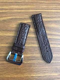 24mm/24mm Authentic Dark Brown Alligator 🐊Crocodile Watch Strap 🌟 for Panerai Watch - rugged outback series - mosaic tile grains , one of a kind🌟