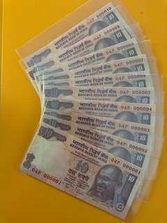 2012 INDIA UNC 10Rupees fancy no:000001-10