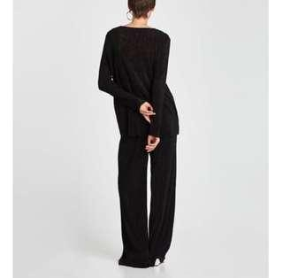 Zara micro pleated trousers and top