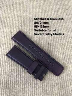 28/24mm Purple Calf Leather Strap for All Sevenfriday Models