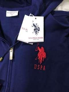 🚚 真品專櫃US POLO全新吊牌在 藍色棉質外套 M彈性佳