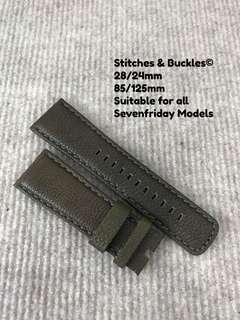 28/24mm Olive Textured Calf Leather Strap for All Sevenfriday Models
