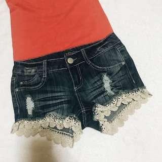 EMPYRE Laced Maong Shorts