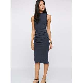 BNWT Reischel Ruched Knit Bodycon Midi Dress