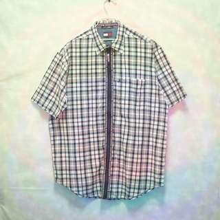三件7折🎊 Tommy Hilfiger 襯衫 短袖襯衫 米深藍 格紋 胸前口袋 串標logo 極稀有 老品 復古 古著 Vintage