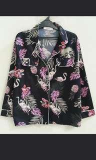 Flamingo satin pajama blouse