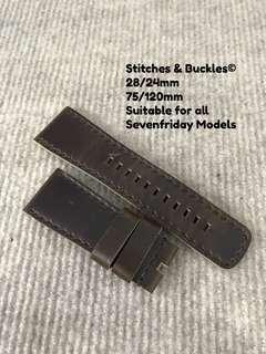 28/24mm Military Olive Calf Leather Strap for All Sevenfriday Models