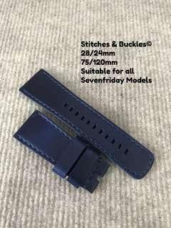 28/24mm Blue Calf Leather Strap for All Sevenfriday Models