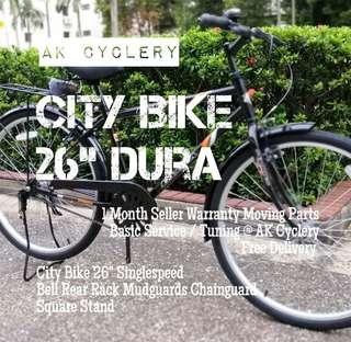 "🚚 City Bike 26"" DURA Singlespeed Bell Rear Rack Mudguards Chainguard"
