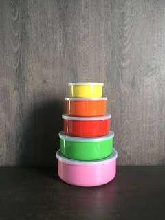 Stainless Steel Colorful containers set of 5