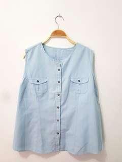 Preloved atasan biru jeans second