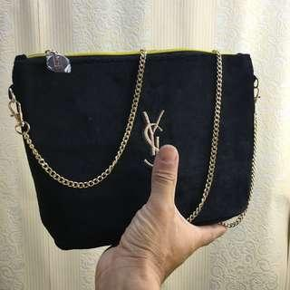 Instock! YSL Parfum Gold Embroidered Logo Chain Sling Strap Zip Bag (Black) ASC 243 + FREE Post