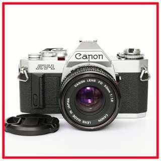 Canon AV-1 35mm Film Camera (Aperture-priority brother of AE-1) + Canon FD 50mm F1.8 Lens
