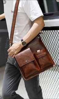 🚚 ✔️INSTOCK! Rustic Brown Messenger Crossbody Porter Bag - IPad Bag - Mens Brown Sling Bag - Mens travel Pu leather bag