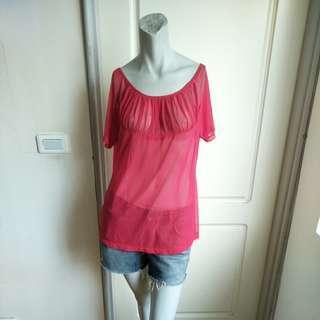 🚚 【銅板價50】紅色透明感性感絲紗雪紡短袖上衣