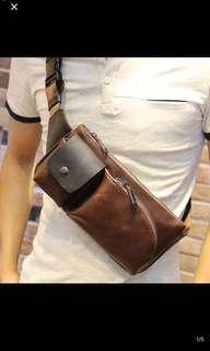 🚚 INSTOCK! Mens Brown Sling Crossbody Bag - Travel Pouch