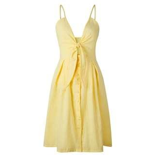 Yellow knot front dress