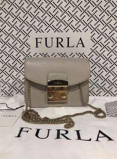 Furla mini metropolis crossbody bag in nude